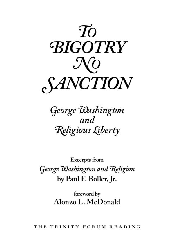 To Bigotry No Sanction